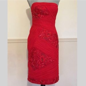 Sue Wong Red Strapless Beaded & Embroidered Dress